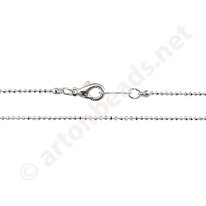 "Ball Chain with Clasp-925 Silver Plated(1.2mm)-16""-2pcs"