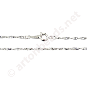 "*Rope Chain with Clasp-925 Silver Plated(1.7mm)-16""-10pc"