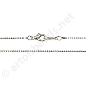 "Ball Chain with Clasp-White Gold Plated(1.20mm)-16""-2pcs"