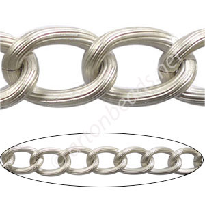 Aluminum Chain(#17) - Matte Silver Plated - 14.2x20mm - 1M