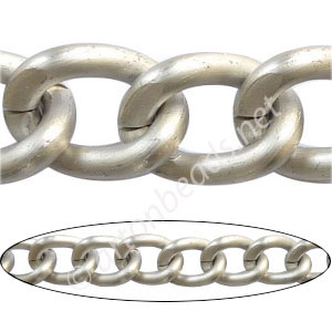 Aluminum Chain(#18) - Matte Silver Plated - 15.2x20.5mm - 1M