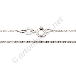 "Sterling Silver Pre-made Chain - Flat Short - 16"" - 1 Strand"