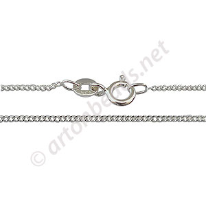 "Sterling Silver Pre-made Chain - Flat Short - 18"" - 1 Strand"