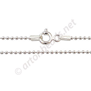 "Sterling Silver Pre-made Chain - 1.0mm Ball - 16"" - 1 Strand"