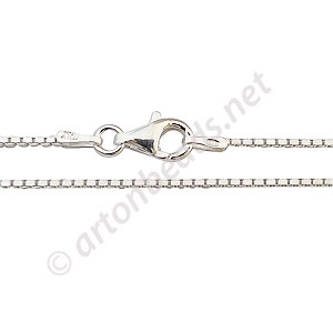 "Sterling Silver Pre-made Chain - 1.0mm Box - 18"" - 1 Strand"