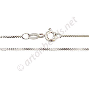 "Sterling Silver Pre-made Chain - 0.8mm Box - 18""-1 Strand"