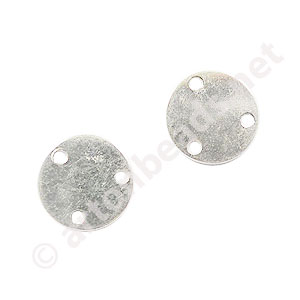 Sterling Silver Connector - 3-hole Coin - 9mm - 10pcs