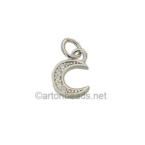 Sterling Silver Charm - Moon+C.Z - 6x9mm - 1pc