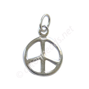 Sterling Silver Charm - Peace Sign - 11mm - 2pcs