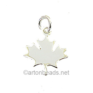 Sterling Silver Charm - Maple - 12x14mm - 1pc