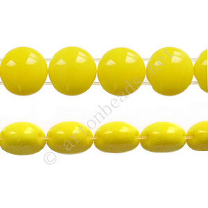 Candy 2-hole Glass Beads - Yellow Opaque - 8mm - 22pcs