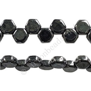 Honeycomb 2-hole Glass Beads - Hematite - 6mm - 30pcs