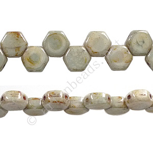 Honeycomb 2-hole Glass Beads - Pistachio - 6mm - 30pcs