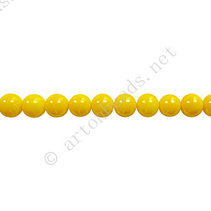 Baking Painted Glass Bead - Round - Yellow - 4mm - 100pcs