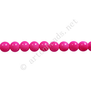 Baking Painted Glass Bead - Round - Hot Pink - 4mm - 100pcs