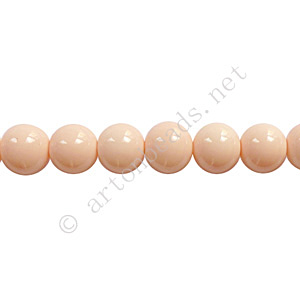 Baking Painted Glass Bead - Round - Light Peach - 6mm - 65pcs