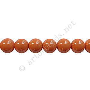 Baking Painted Glass Bead - Round - Copper Brown - 6mm - 65pcs