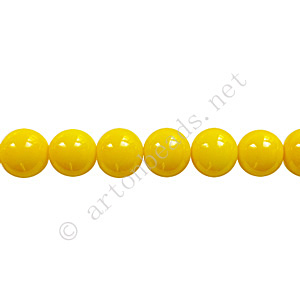 *Baking Painted Glass Bead - Round - Yellow - 6mm - 65pcs