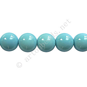 Baking Painted Glass Bead - Round - Sky Blue - 8mm - 50pcs