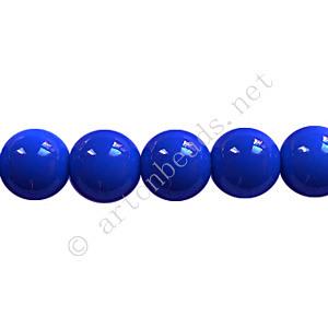 Baking Painted Glass Bead - Round - Sapphire - 8mm - 50pcs