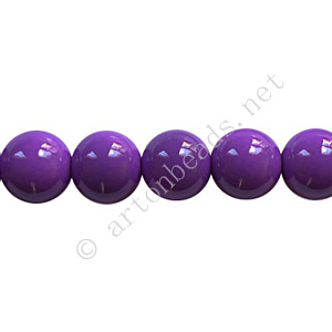 Baking Painted Glass Bead - Round - Tanzanite - 8mm - 50pcs
