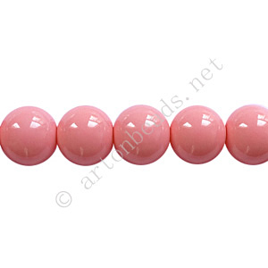 Baking Painted Glass Bead - Round - Pink - 8mm - 50pcs