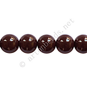 Baking Painted Glass Bead - Round - Chocolate - 8mm - 50pcs