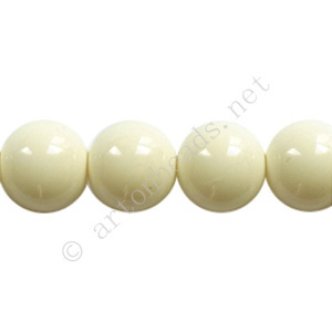 Baking Painted Glass Bead - Round - Ivory - 10mm - 40pcs