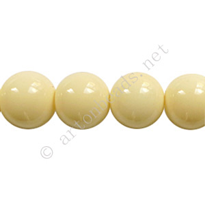 *Baking Painted Glass Bead - Round - Creamy - 10mm - 40pcs