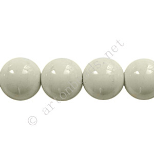 Baking Painted Glass Bead - Round - Light Grey - 10mm - 40pcs