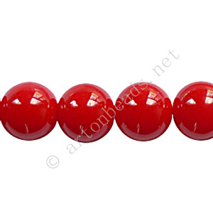 Baking Painted Glass Bead - Round - Red - 10mm - 40pcs