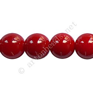Baking Painted Glass Bead - Round - Dark Red - 10mm - 40pcs