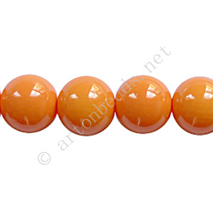 Baking Painted Glass Bead - Round - Orange - 10mm - 40pcs