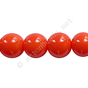Baking Painted Glass Bead - Round - Coral - 10mm - 40pcs