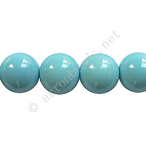 Baking Painted Glass Bead - Round - Sky Blue - 10mm - 40pcs