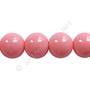 *Baking Painted Glass Bead - Round - Pink - 10mm - 40pcs