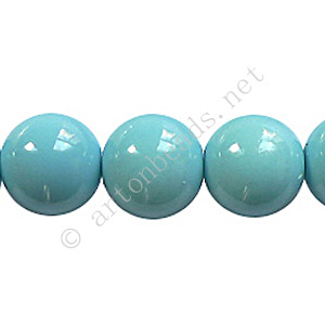 Baking Painted Glass Bead - Round - Sky Blue - 12mm - 34pcs