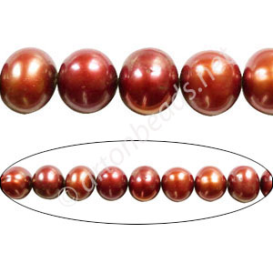 "Burgundy - Fresh Water Pearl - Potato - 8mm - 15"" ( P16E )"