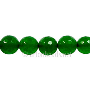Colored Agate - Emerald - Faceted Round -8mm - 15""