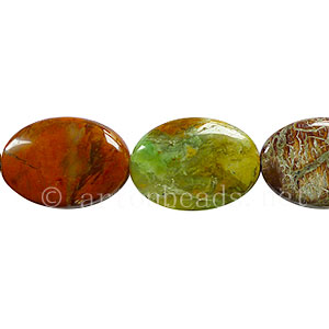Green Magic Agate - Puff Oval - 25x18mm