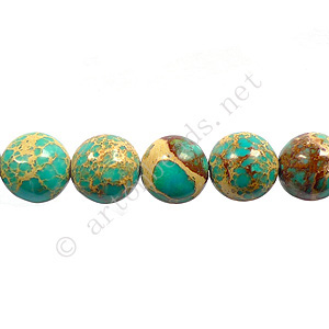 Imperial Jasper - Turquoise Blue - Round - 8mm