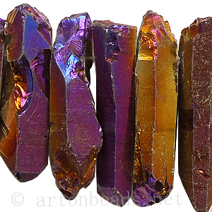 Electroplated Quartz - Teeth - Purple Gold - 6x17-10x45mm-16""