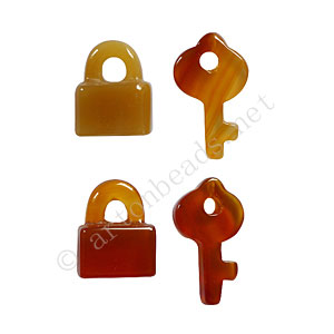 Carnelian - Lock & Key - 15x12 - 22x12mm - 4pcs