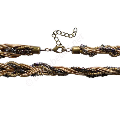 "Braided Cord With Seed Beads & Clasp-Light Brown-10mm-18"" - 2pcs"